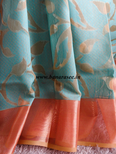 Banarasee/Banarasi Organza Mix Saree With Floral Jaal Design & Zari Border-Blue