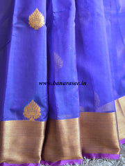 Banarasee/Banarasee Pure Handloom Silk Cotton Saree With Golden Border-Violet