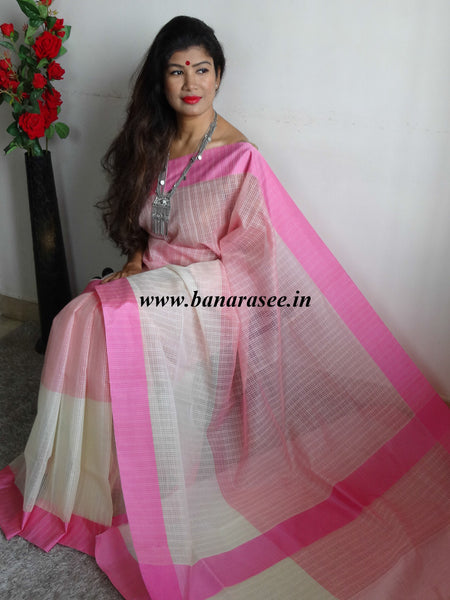 Banarasee/Banarasi Cotton Silk Mix Sari-White & Pink