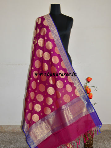 Banarasee Art Silk Dupatta Big Buta Design-Magenta