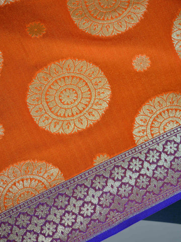 Banarasee Art Silk Dupatta Big Buta Design-Orange