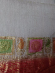Banarasee/ Banarasi Pure Handloom Muga Silk Sari With Contrast Border-Beige