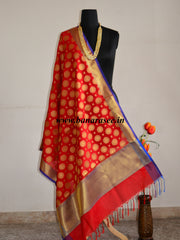 Banarasee Art Silk Dupatta With Circle Buti Design-Red