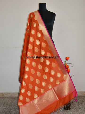 Banarasee Art Silk Dupatta Drop Buta Design-Orange