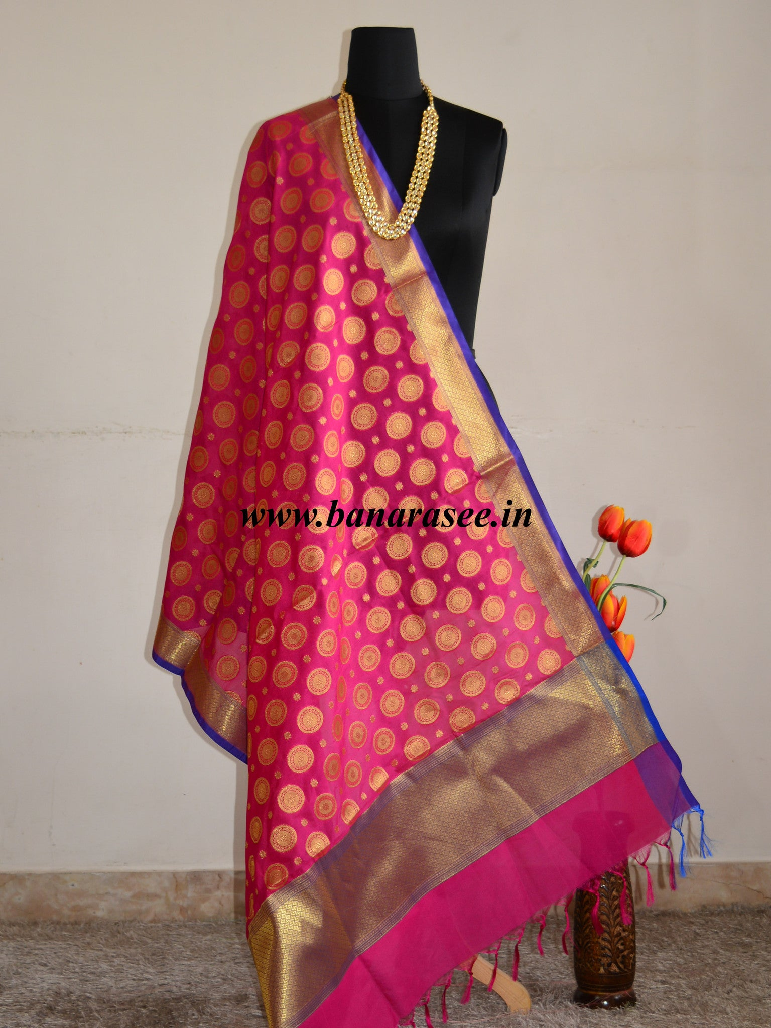 Banarasee Art Silk Dupatta With Circle Buti Design-Magenta