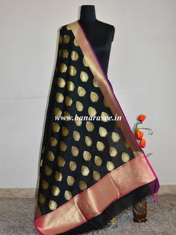 Banarasee Art Silk Dupatta Drop Buta Design-Black