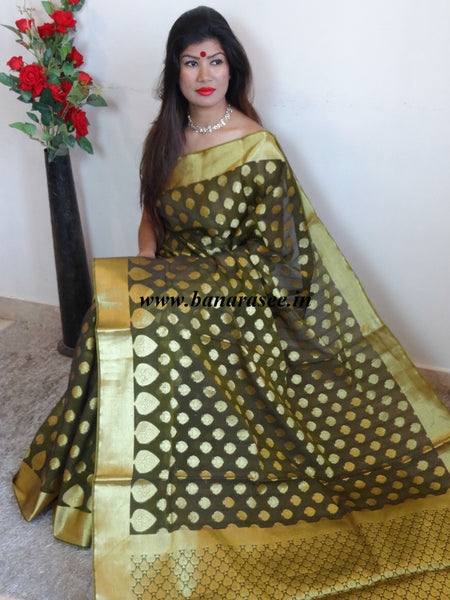 Banarasee Chanderi Cotton Saree With Zari Buti & Border-Deep Olive Green