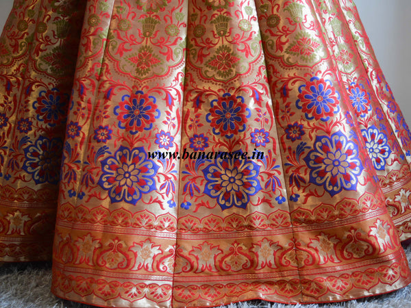 Banarasee/Banarasi Handwoven Art Silk Unstitched Lehenga & Blouse Fabric With Woven Meena Design-Red