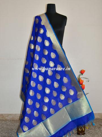 Banarasee Art Silk Dupatta Drop Buta Design-Royal Blue