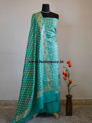 Banarasee/Banarasi Salwar Kameez Glossy Semi Silk Zari Jaal Work Fabric-Sea Green