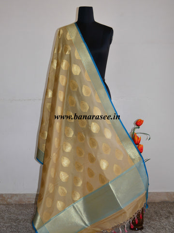 Banarasee Art Silk Dupatta Drop Buta Design-Beige