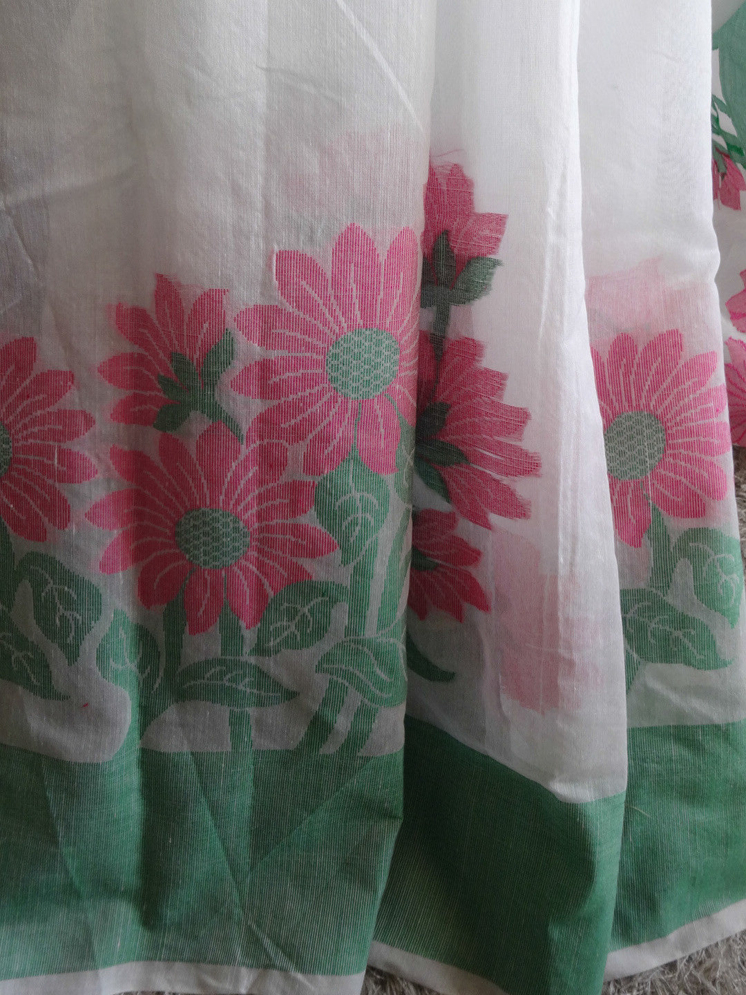 Banarasee Cotton Saree With Floral Border-White