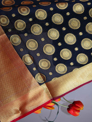 Banarasee Art Silk Dupatta With Circle Buti Design-Black