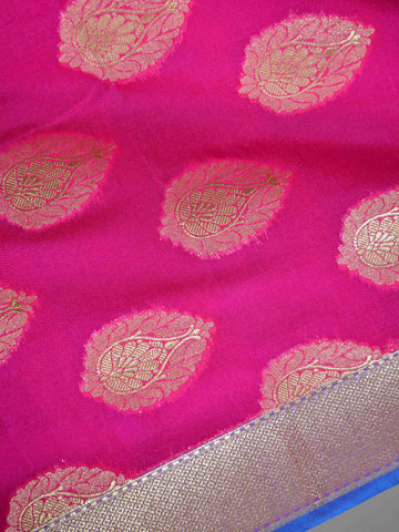 Banarasee Art Silk Dupatta Drop Buta Design-Hot Pink