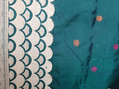 Banarasee/Banarasee Pure Handloom Katan Silk Sari With Resham Weaving Border-Deep Green