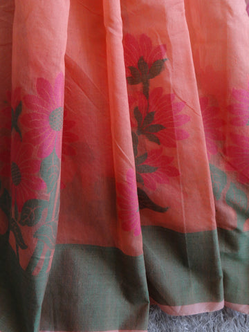 Banarasee Cotton Saree With Floral Border-Peach