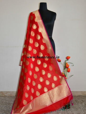 Banarasee Art Silk Dupatta Drop Buta Design-Red