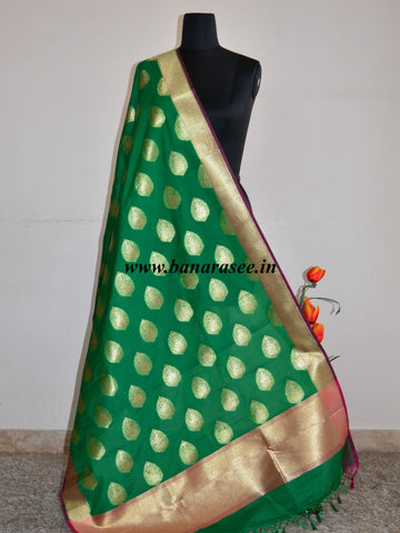 Banarasee Art Silk Dupatta Drop Buta Design-Green