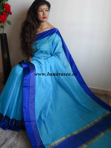 Banarasee/Banarasi Cotton Silk Mix Saree With Satin Border-Blue