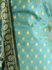 Banarasee Chanderi Cotton Salwar Kameez Zari Polka Dot Buti Design Fabric & Green Jaal Dupatta-Blue