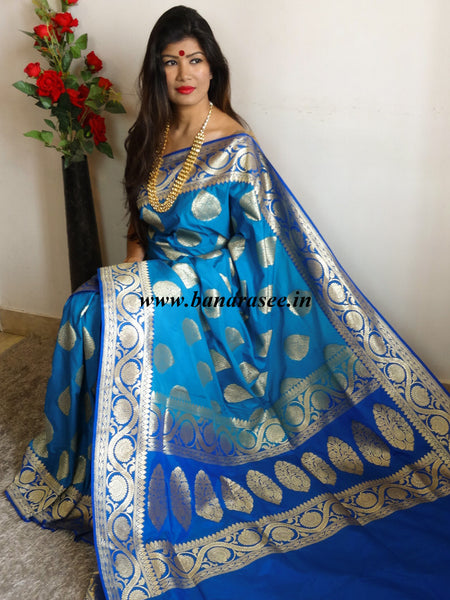Banarasee Handwoven Georgette Silk Saree With Big Buta and Floral Border Design-Blue