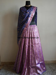 Banarasee/Banarasi Handwoven Brocade Unstitched Lehenga Fabric with Chiffon Dupatta-Purple