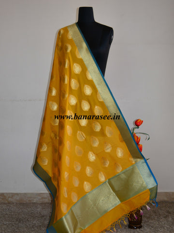 Banarasee Art Silk Dupatta Drop Buta Design-Yellow
