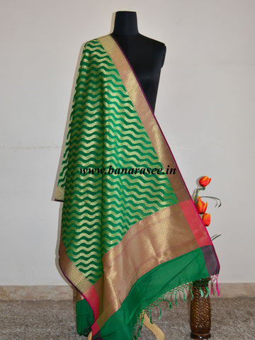 Banarasee Art Silk Dupatta Zari Wave Design-Deep Green