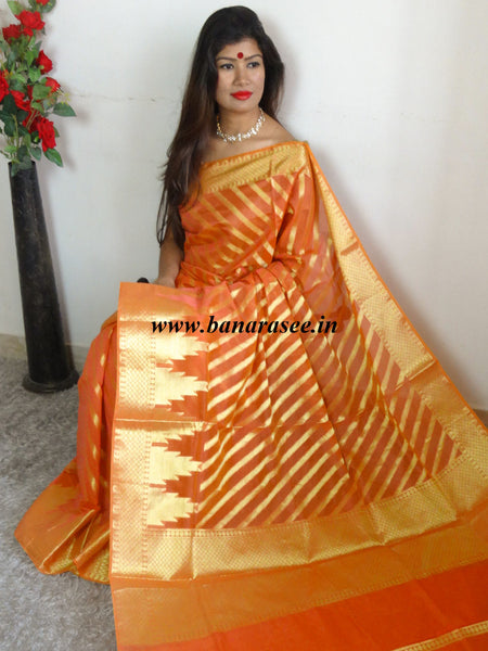 Banarasee Chanderi Cotton Saree With Zari Stripes & Border-Orange