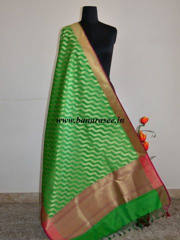 Banarasee Art Silk Dupatta Zari Wave Design-Green