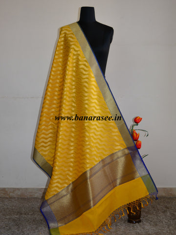 Banarasee Art Silk Dupatta Zari Wave Design-Yellow