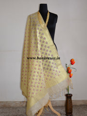 Banarasee/ Banarasi Cotton Silk Zari Jaal Patterned Dupatta With Red Motif-Off White