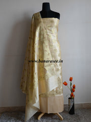 Banarasee/Banarasi Salwar Kameez Semi Silk Zari Work Fabric-Off White