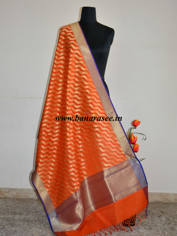 Banarasee Art Silk Dupatta Zari Wave Design-Orange