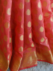 Banarasee/Banarasi Cotton Silk Mix With Zari Booti-Coral