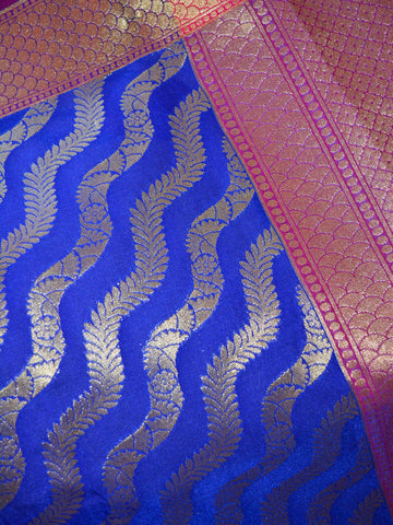 Banarasee Art Silk Dupatta Zari Wave Design-Royal Blue