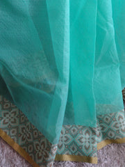 Banarasee/Banarasi Cotton Silk Mix Saree With Floral Woven Design-Green