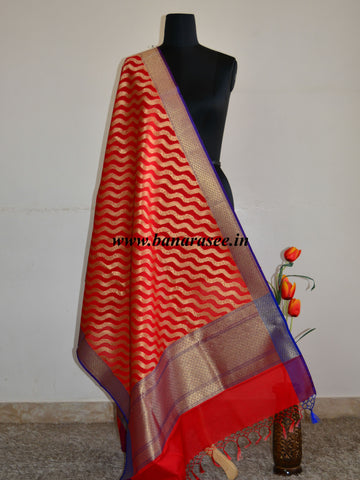 Banarasee Art Silk Dupatta Zari Wave Design-Red