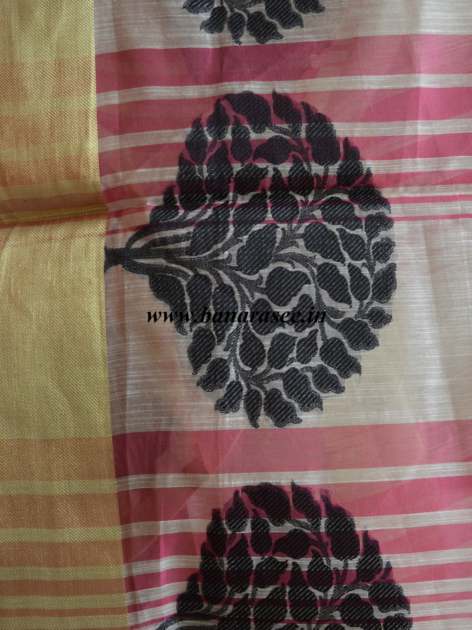 Banarasi Cotton Silk Blend Dupatta Banyan Buta Design Pink Stripes-White