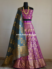 Banarasee/Banarasi Handwoven Art Silk Unstitched Lehenga & Blouse Fabric With Dupatta-Magenta & Grey