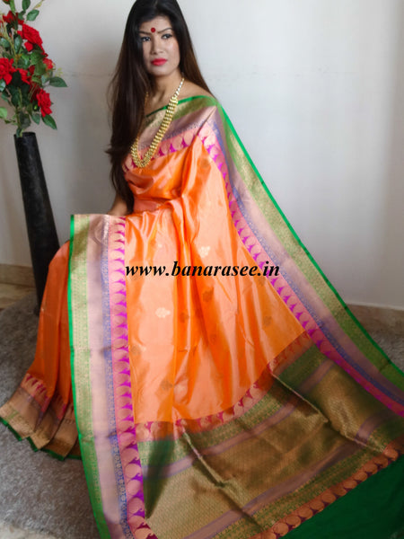 Banarasee/Banarasee Handloom Pure Katan Silk Sari With Skirt Border-Bright Orange