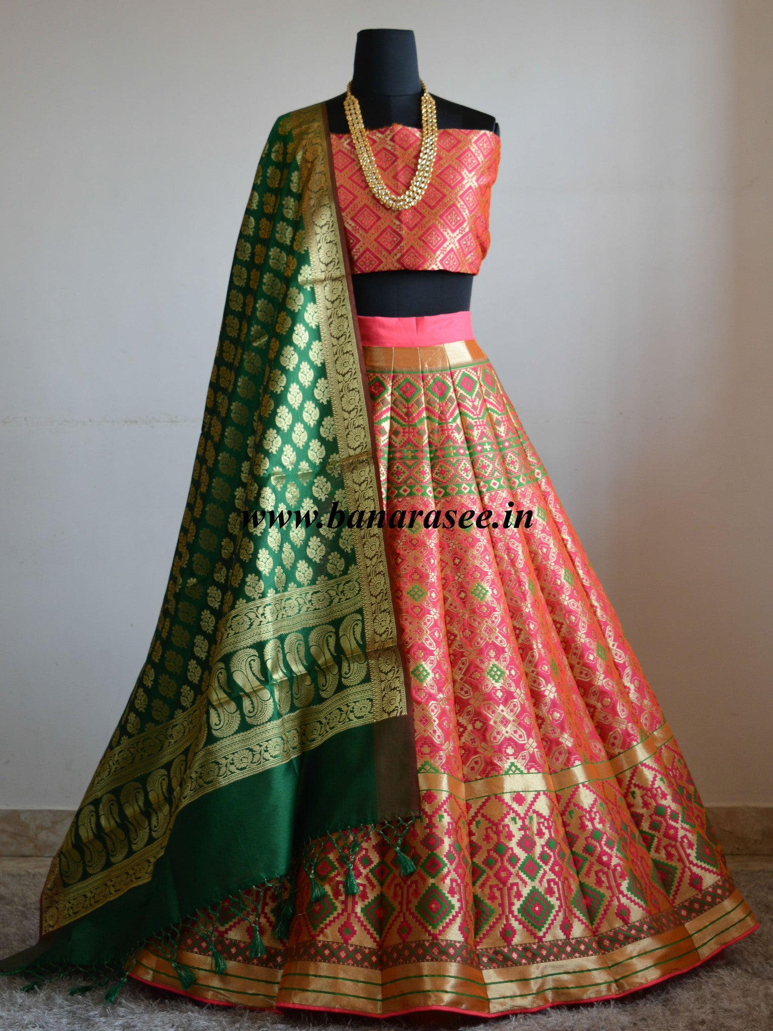 22bde3100 Banarasee Handwoven Art Silk Unstitched Lehenga & Blouse Fabric With Meena  Work -Bright Peach