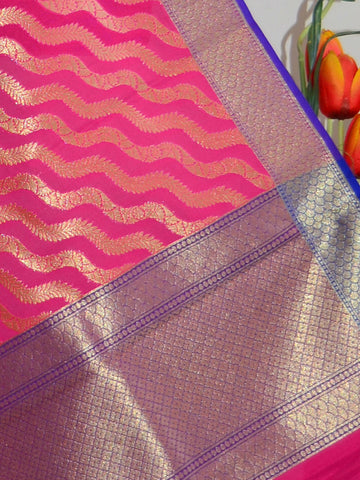 Banarasee Art Silk Dupatta Zari Wave Design-Hot Pink