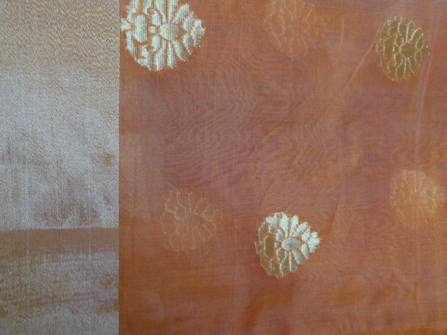 Banarasee/Banarasee Pure Handloom Silk Cotton Saree With Golden Border-Orange