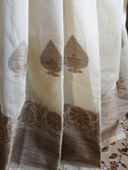 Banarasee/Banarasee Silk Cotton Saree Khichha Leaf Buti Design-Beige