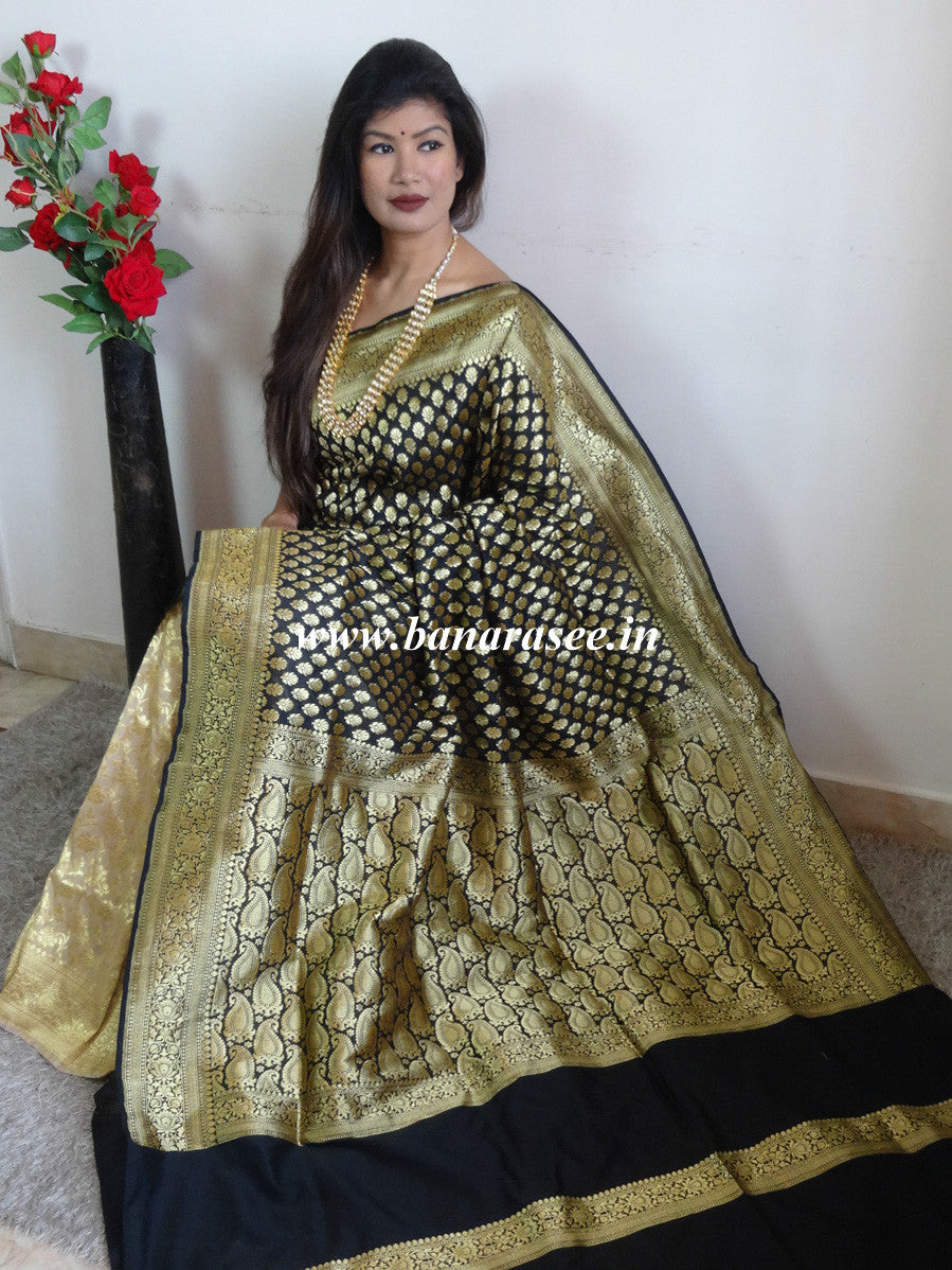 Banarasee Handwoven Art Silk Buti Saree Half & Half-Beige & Black