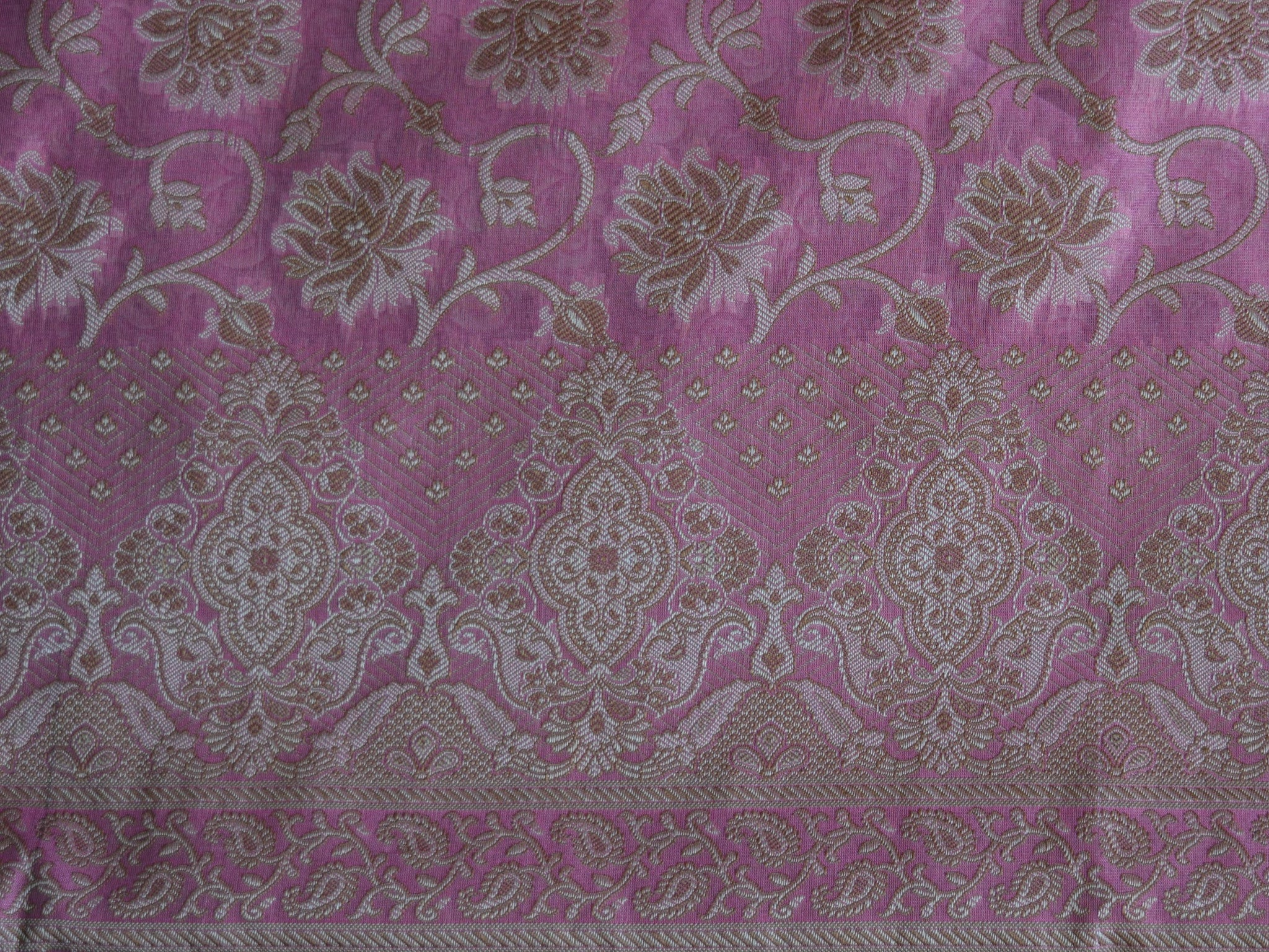 Banarasee/Banarasi Salwar Kameez Cotton Silk Resham Woven With Floral Jaal Fabric-Pink