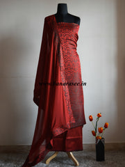 Banarasee/Banarasi Salwar Kameez Satin Brocade Resham Woven Fabric-Deep Red