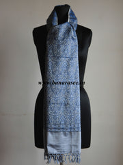 Banarasee/Banarasi Silk Wool Handloom With Blue Resham Weaving Stole-Grey