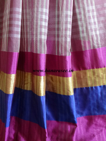 Banarasee/Banarasi Cotton Silk Mix Sari With Contrast Skirt Border-Purple